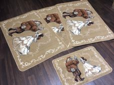 ROMANY GYPSY WASHABLES  2018 DESIGN SET OF 4 MATS BEIGE/CREAM/BROWNS NON SLIP